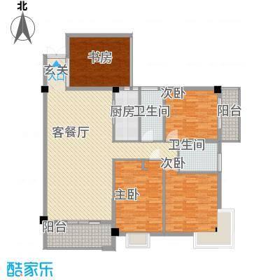 禹洲香槟城118.00㎡3#03单元户型3室2厅1卫1厨