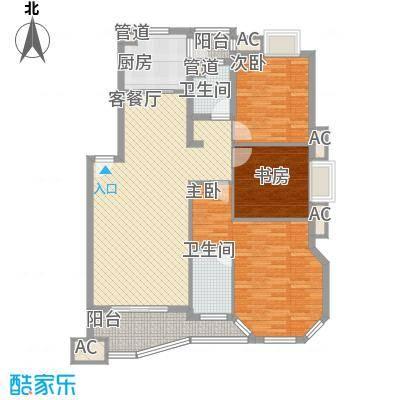 水墨兰庭114.83㎡D型户型3室2厅2卫1厨