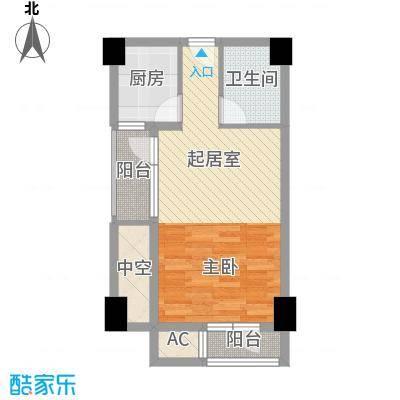水墨兰庭52.68㎡18号公馆A户型1室1厅1卫1厨