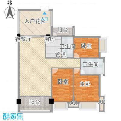 东方水岸126.00㎡拥江庭3单元2-7户型3室2厅2卫1厨