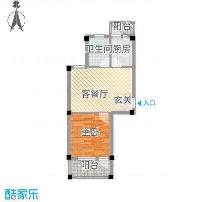 盛世嘉苑48.00㎡B型户型1室2厅1卫
