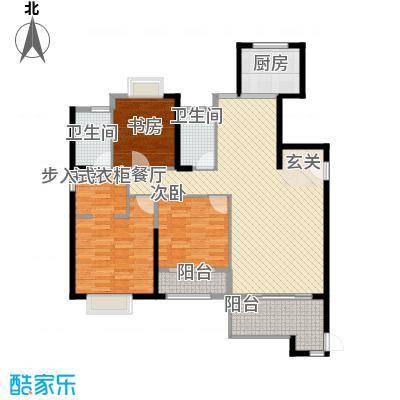 中铁海曦128.76㎡2#楼01单元户型3室2厅2卫1厨