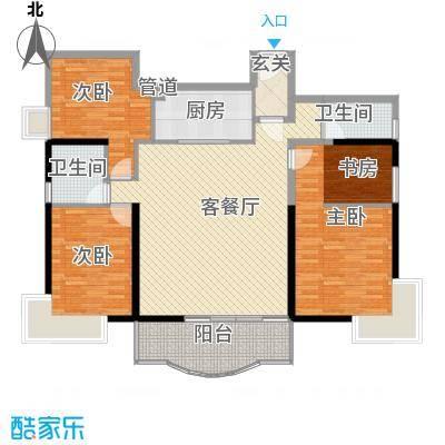 金海湾164.00㎡3期1#T1、T2-02单元户型3室2厅2卫1厨