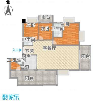 君临宝邸175.18㎡5-29层6-33H单元H户型3室2厅2卫1厨
