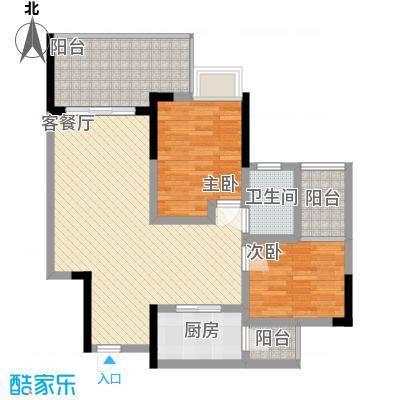香草山二期75.67㎡10号楼标准层C-3户型2室2厅1卫1厨