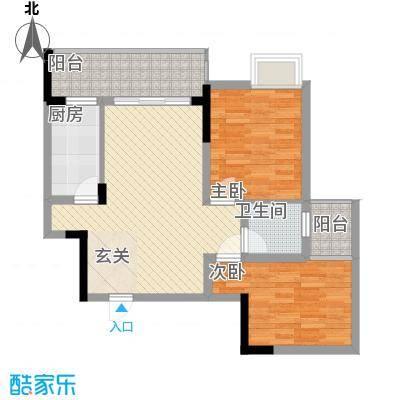 香草山二期63.15㎡10号楼标准层E-2户型2室2厅1卫1厨