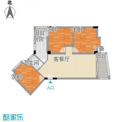 锦绣华庭113.11㎡19栋504户型3室2厅1卫1厨