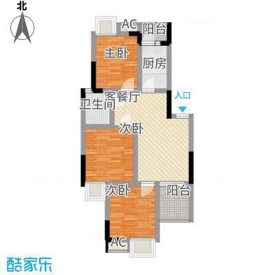 香草山二期6.17㎡10号楼标准层F-1户型3室2厅1卫1厨