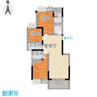 香草山二期2.00㎡10号楼标准层G-1户型3室2厅2卫1厨