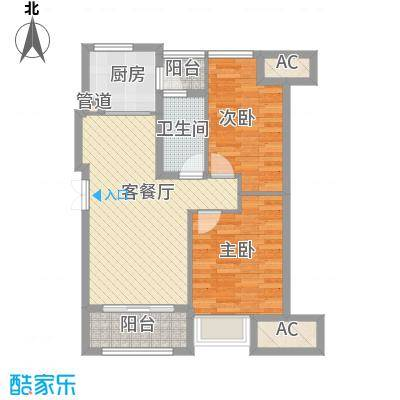 荣安琴湾88.00㎡二期1#A户型2室2厅1卫1厨