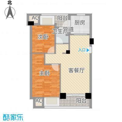 荣安琴湾88.00㎡户型2室2厅1卫1厨