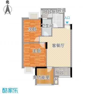 时富城东世家81.57㎡9栋3-10层02户型2室2厅1卫1厨
