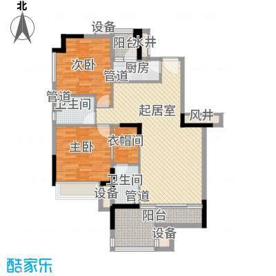 时富城东世家8.60㎡2栋3-17层01户型2室2厅2卫1厨