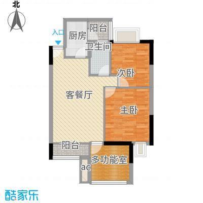时富城东世家81.57㎡9栋3-10层06户型2室2厅2卫1厨