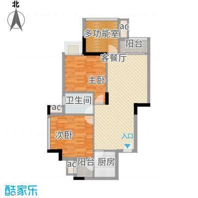 时富城东世家86.76㎡9栋3-10层03户型2室2厅1卫1厨