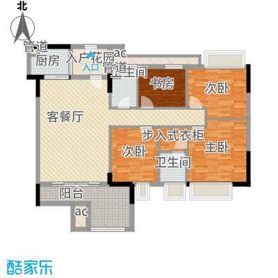 时富城东世家122.32㎡3栋3-17层02户型4室2厅2卫1厨