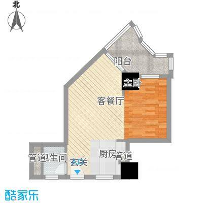 中铁财富港湾58.83㎡C2户型1室1厅1卫1厨