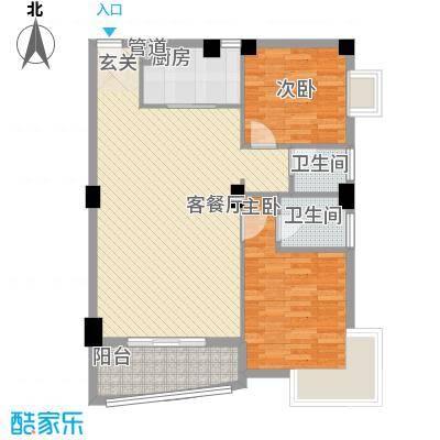 华森公园首府88.85㎡2#、3#、5#楼标准层03、04单元户型2室2厅2卫1厨