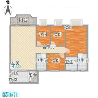 岭岚花园Q型户型4室2厅3卫1厨