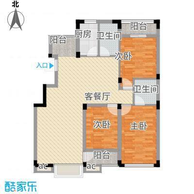 东方塞纳126.00㎡D6户型3室2厅2卫1厨