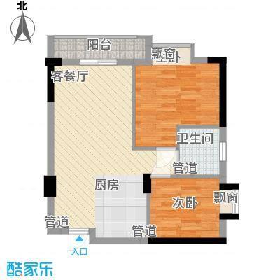 顺联新城花园73.66㎡8座3-16层02单元户型2室1厅1卫
