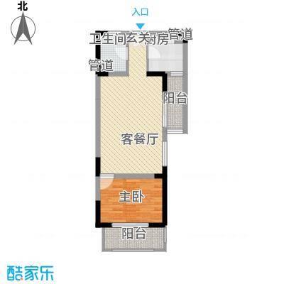 隆昊昊博园63.50㎡7#楼D3户型1室2厅1卫1厨