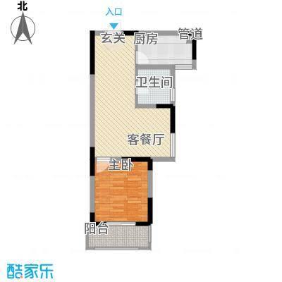 隆昊昊博园64.68㎡7#楼D4户型1室2厅1卫1厨
