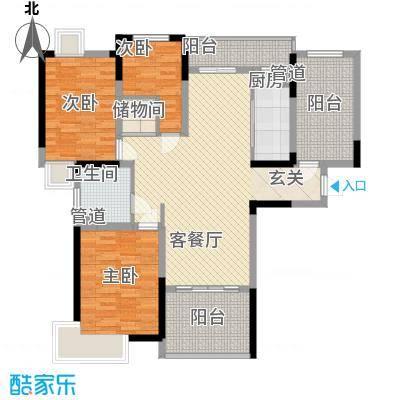时代豪庭128.00㎡一期标准层A2户型3室3厅1卫1厨