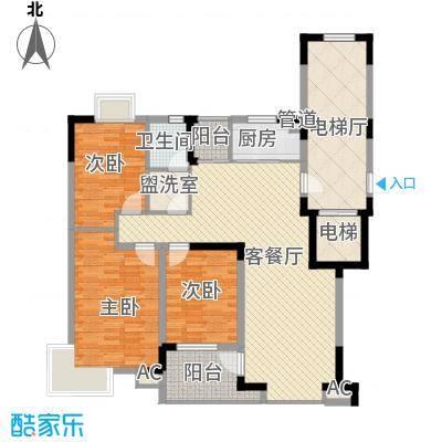 九溪江南111.44㎡2楼户型3室2厅1卫1厨