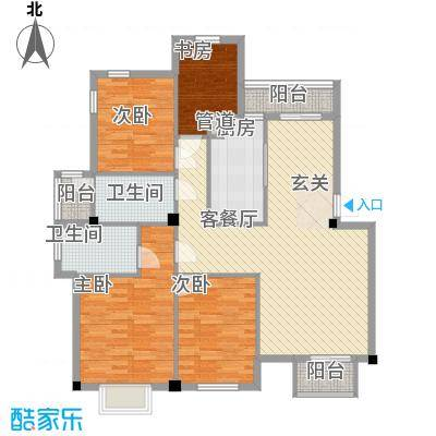 万达广场公寓户型4室2厅1卫1厨