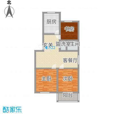 兴盛豪庭15.00㎡一期11号楼标准层B户型3室2厅1卫1厨