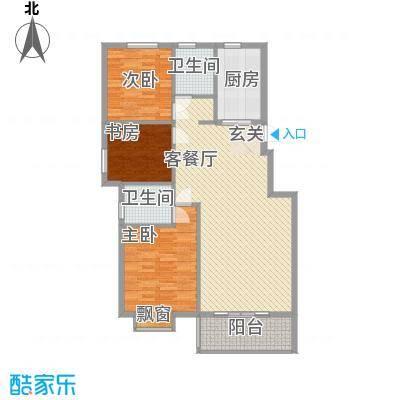书香景苑户型2室2厅2卫1厨