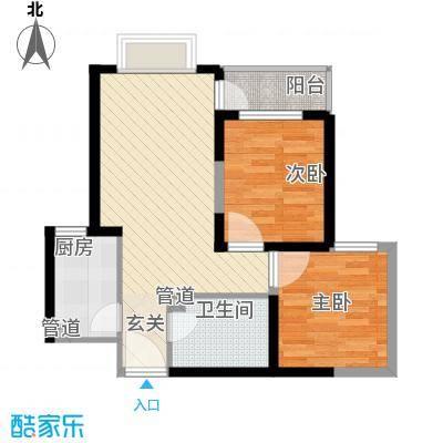 滨湖世纪城73.10㎡公寓式写字楼D户型2室2厅1卫1厨