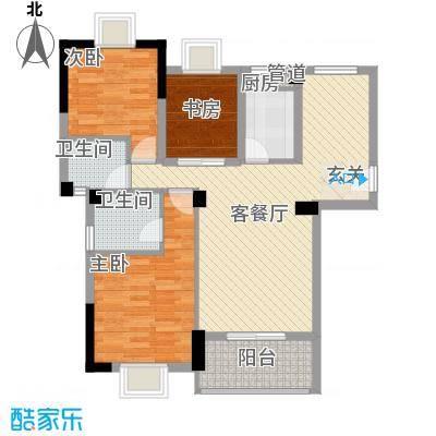 金利蓝湾新城88.58㎡4#楼2-12层07单元户型3室2厅2卫1厨