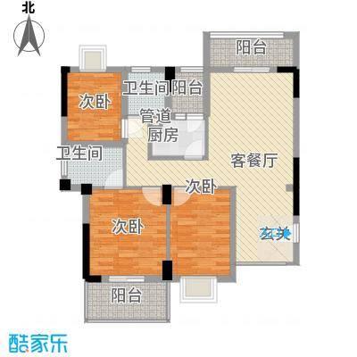 金利蓝湾新城1.81㎡4#楼2-12层01单元户型3室2厅2卫1厨