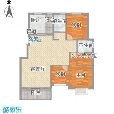 清泉花园户型2室2厅2卫1厨