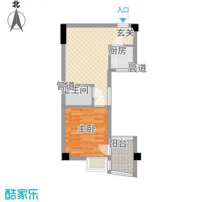 锦辉国际花园51.00㎡1-4#楼标准层03、05单元C户型1室1厅1卫1厨