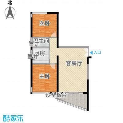 格力广场3期将军山112.12㎡22栋042-40F户型2室2厅1卫1厨