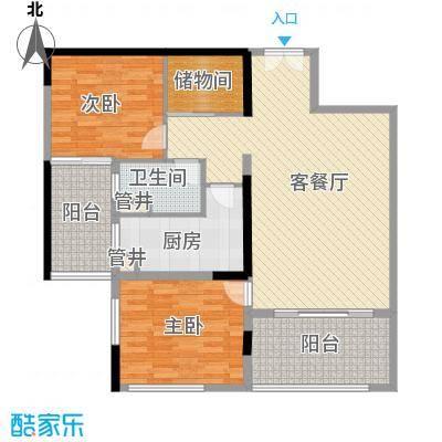 格力广场3期将军山16.60㎡22栋0345-52F户型2室2厅1卫1厨
