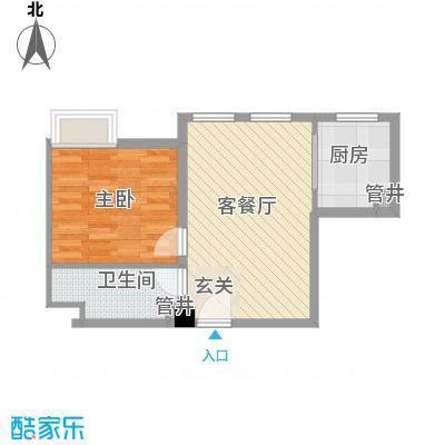 花生糖公馆58.00㎡第一期1、2号楼标准层C户型1室2厅1卫1厨
