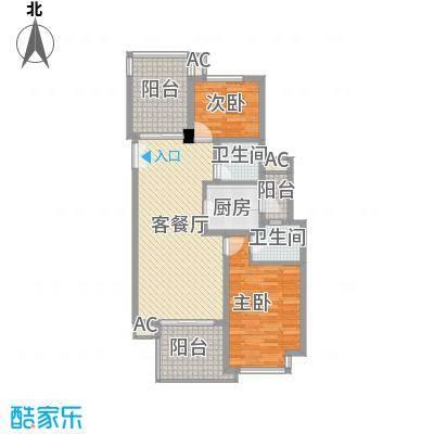 金地国际公馆116.53㎡户型2室2厅2卫1厨