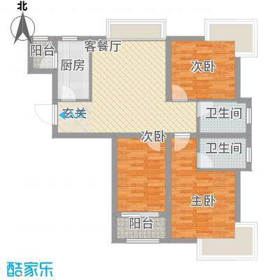 建达花园20户型3室2厅2卫1厨