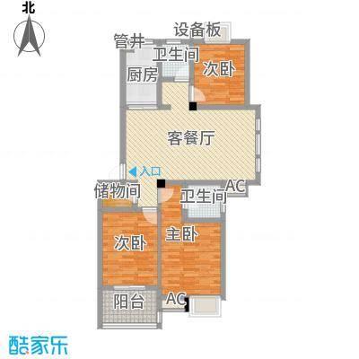 西城十二庭院115.00㎡二期多层C1型户型3室2厅2卫
