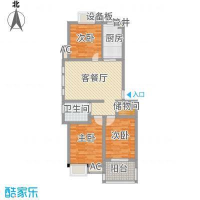 西城十二庭院13.00㎡二期多层B2型户型3室2厅1卫