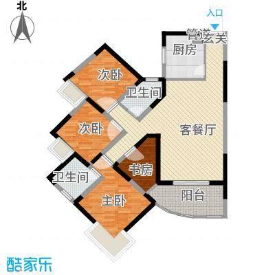 金星家园133.57㎡6#B座精装修户型4室2厅2卫1厨