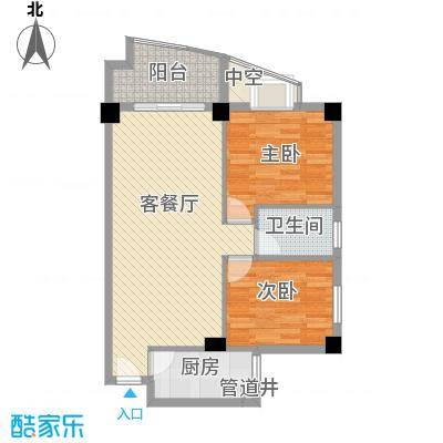广场湖畔花园88.10㎡1号楼3/4单元户型2室2厅1卫1厨