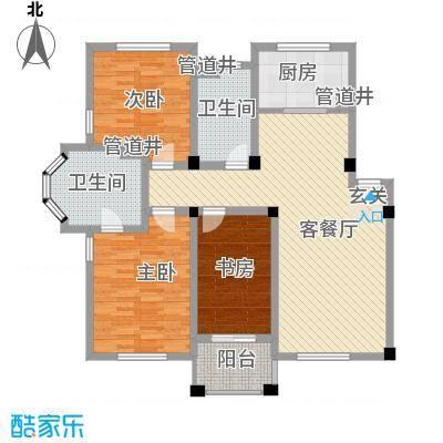 盛世郦都113.00㎡户型3室1厅2卫1厨