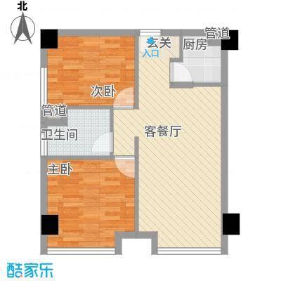 育才家园户型2室2厅1卫1厨