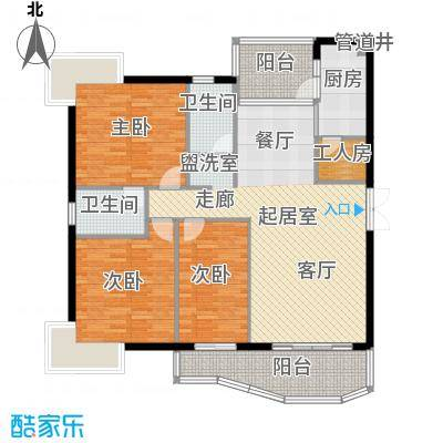 扬名海邑A栋A4平面图户型3室2厅2卫