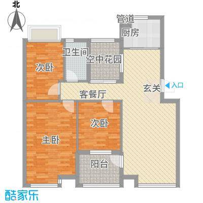 金水童话名苑14.58㎡Y1户型3室2厅1卫